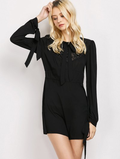 Lace Panel A-Line Dress - BLACK M Mobile
