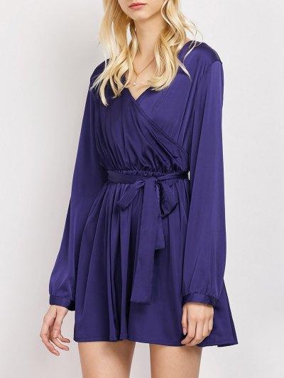 Long Sleeve A-Line Wrap Dress - BLUE XL Mobile