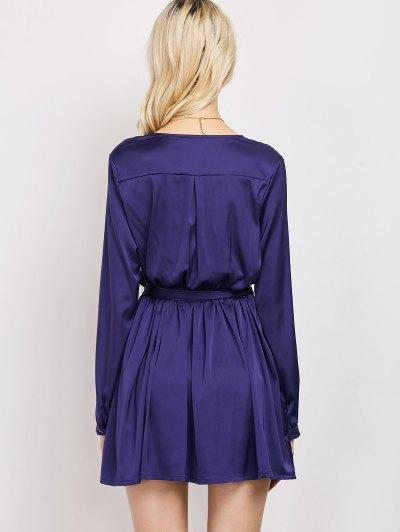 Long Sleeve A-Line Wrap Dress - BLUE L Mobile