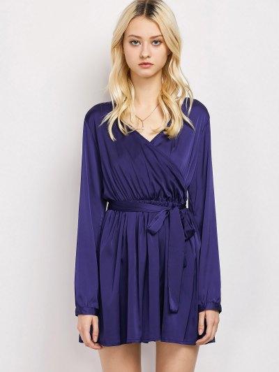 Long Sleeve A-Line Wrap Dress - BLUE M Mobile