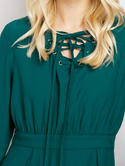 Lace-Up Mini Dress - GREEN M Mobile