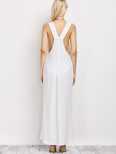 High Slit Lace-Up Maxi Dress - WHITE L Mobile