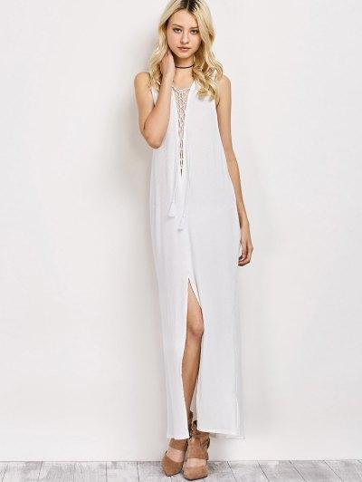 High Slit Lace-Up Maxi Dress - WHITE M Mobile