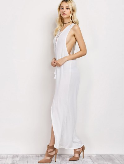 High Slit Lace-Up Maxi Dress - WHITE S Mobile