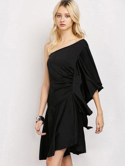 One Shoulder Asymmetric Dress - BLACK 2XL Mobile