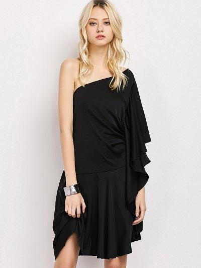 One Shoulder Asymmetric Dress - BLACK L Mobile