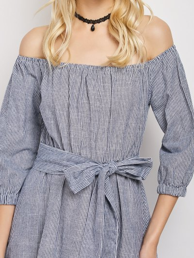 Belted Off The Shoulder Midi Dress - STRIPE S Mobile