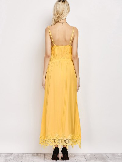 Lace Panel Cami Midi Dress - YELLOW XL Mobile