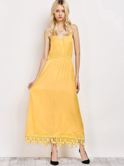 Lace Panel Cami Midi Dress - YELLOW L Mobile