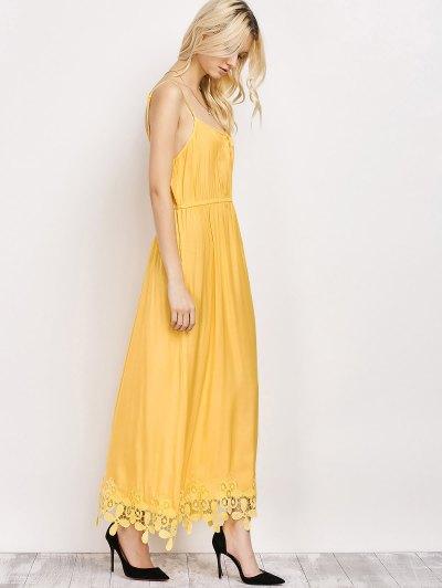 Lace Panel Cami Midi Dress - YELLOW M Mobile