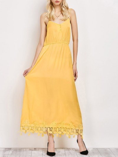 Lace Panel Cami Midi Dress - YELLOW S Mobile