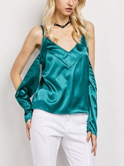 Cold Shoulder Satin Cami Top - GREEN M Mobile