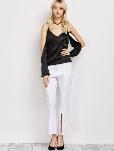 Cold Shoulder Satin Cami Top - BLACK L Mobile