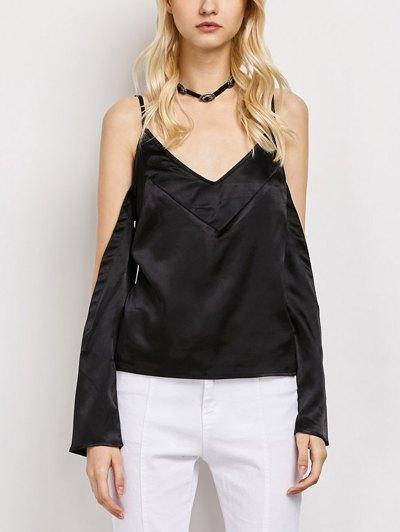 Cold Shoulder Satin Cami Top - BLACK M Mobile