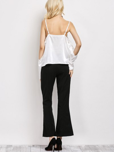Cold Shoulder Satin Cami Top - WHITE L Mobile