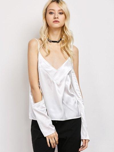 Cold Shoulder Satin Cami Top - WHITE M Mobile