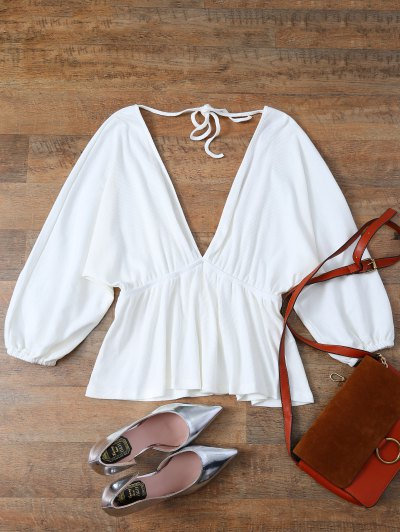Plunge Neck Dolman Sleeve Shirred Blouse - WHITE M Mobile