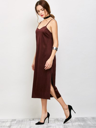 Faux Suede Slip Dress - BURGUNDY M Mobile