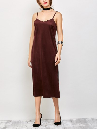 Faux Suede Slip Dress - BURGUNDY S Mobile