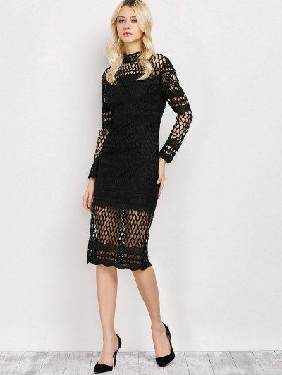 Long Sleeve Geometric Lace Dress - BLACK S Mobile