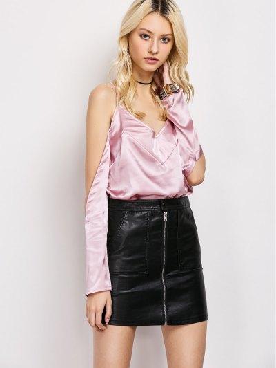 Cold Shoulder Satin Cami Top - PINK L Mobile