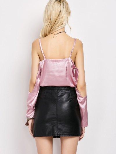 Cold Shoulder Satin Cami Top - PINK M Mobile