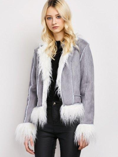Faux Fur Trim Faux Shearling Jacket - GRAY M Mobile