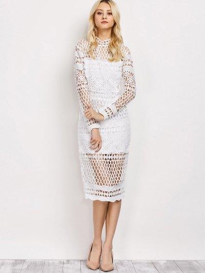 Long Sleeve Geometric Lace Dress - WHITE L Mobile