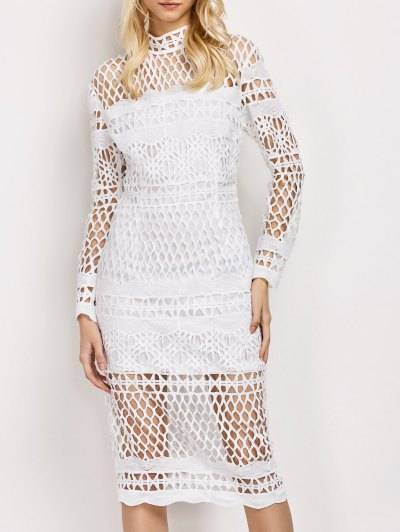 Long Sleeve Geometric Lace Dress - WHITE M Mobile