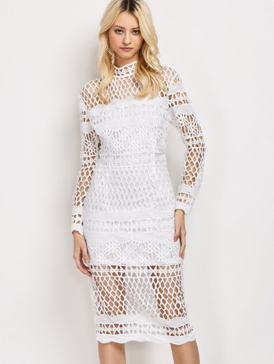 Long Sleeve Geometric Lace Dress - WHITE S Mobile