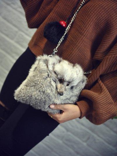 Fox Faux Fur Crossbody Bag - GRAY  Mobile
