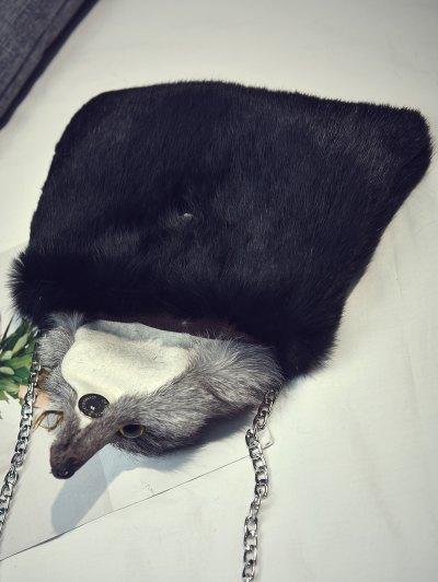 Fox Faux Fur Crossbody Bag - BLACK  Mobile