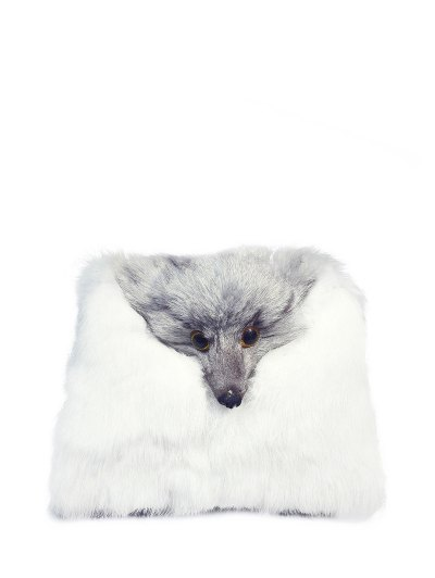 Fox Faux Fur Crossbody Bag - WHITE  Mobile