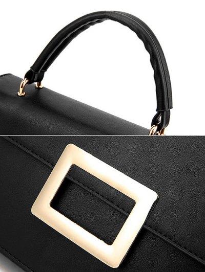 Metal Embellished Faux Leather Handbag - RED  Mobile