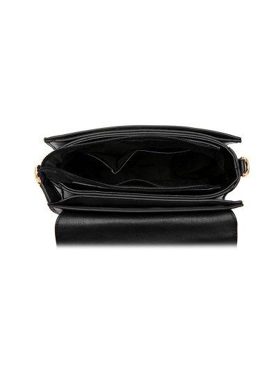 Metal Embellished Faux Leather Handbag - BLACKISH GREEN  Mobile