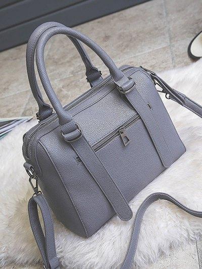 Pompon Straps Faux Leather Handbag - GRAY  Mobile