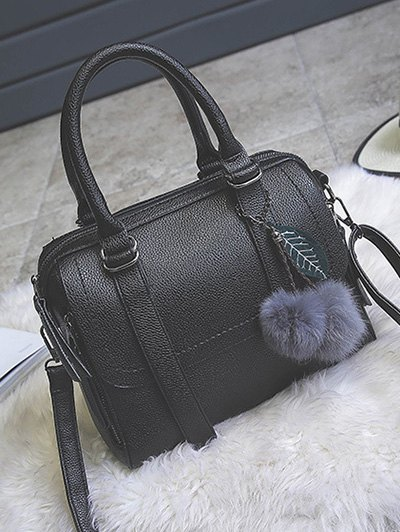 Pompon Straps Faux Leather Handbag - BLACK  Mobile