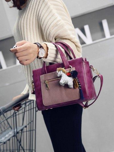 Color Blocking Pendant Handbag - PURPLISH RED  Mobile