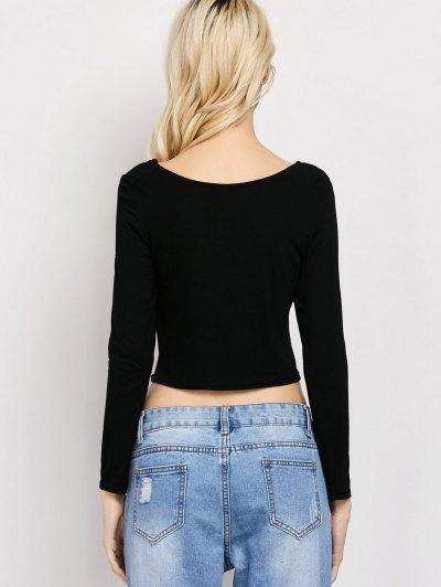 Cut Out Lace-Up T-Shirt - BLACK L Mobile