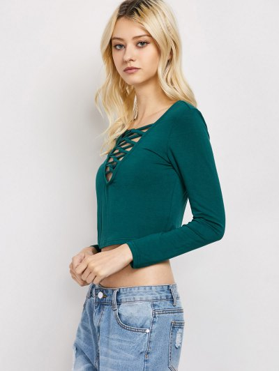 Cut Out Lace-Up T-Shirt - GREEN M Mobile