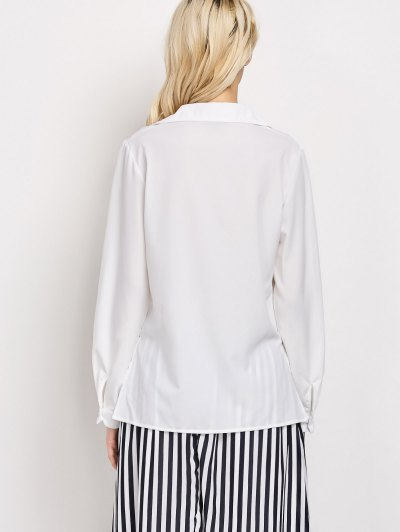 High-Low Lace-Up Shirt - WHITE L Mobile