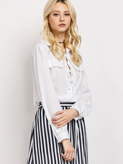 High-Low Lace-Up Shirt - WHITE S Mobile