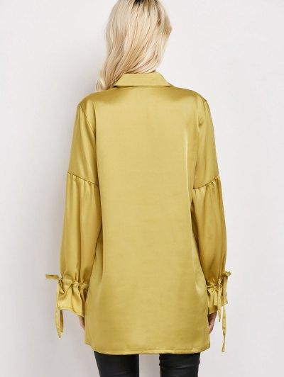 Lantern Sleeve Long Vintage Shirt - CELADON 2XL Mobile