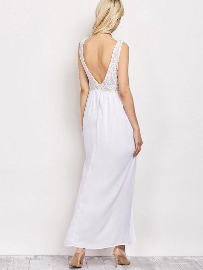 Lace Panel Slit Prom Dress - WHITE L Mobile