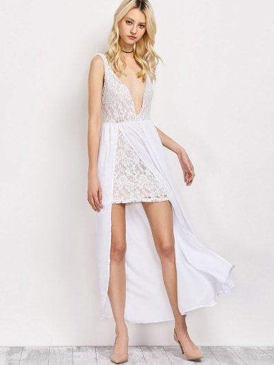 Lace Panel Slit Prom Dress - WHITE M Mobile