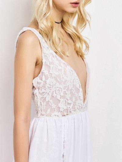 Lace Panel Slit Prom Dress - WHITE S Mobile