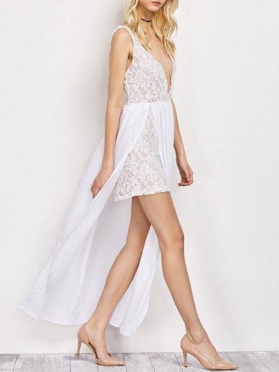 Lace Panel Slit Prom Dress - WHITE 2XL Mobile