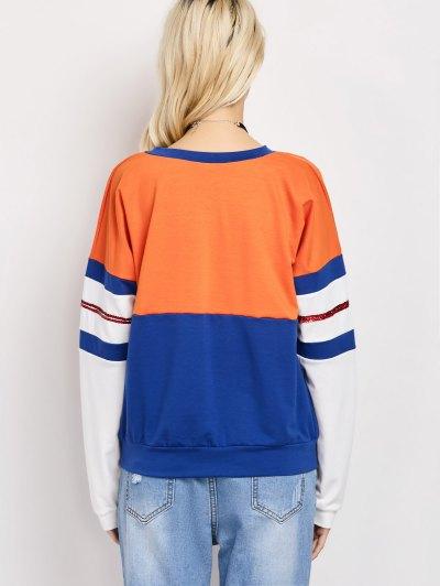 Color Block Casual Sweatshirt - BLUE XL Mobile