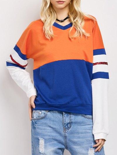 Color Block Casual Sweatshirt - BLUE L Mobile