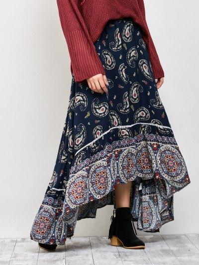 Paisley Pattern Bohemian Maxi Skirt - PURPLISH BLUE L Mobile